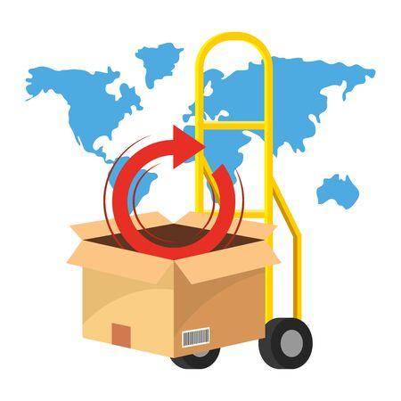 pushcart with box vector illustration