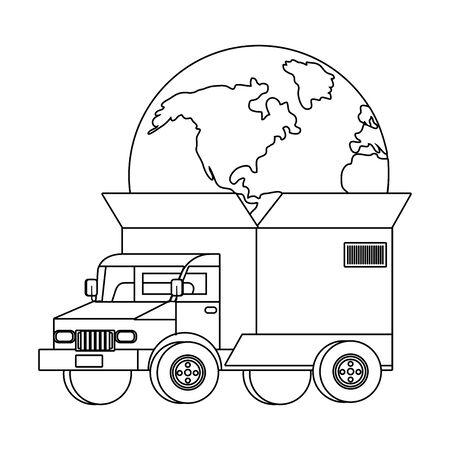 truck with a big box in the back with a globe inside vector illustration graphic design Çizim