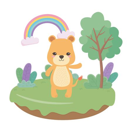 Lioness cartoon design, Animal cute zoo life nature and fauna theme Vector illustration