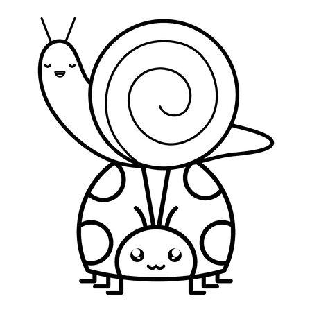 cute ladybug and snail kawaii characters vector illustration design