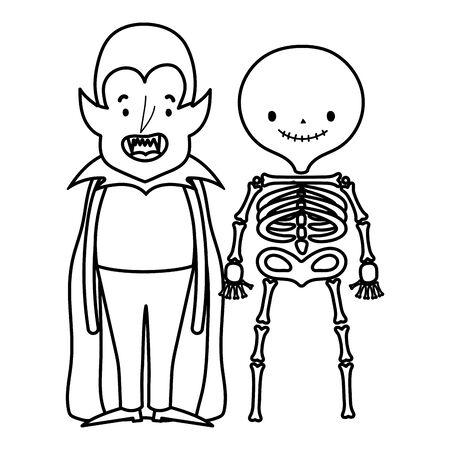 happy halloween celebration boys dracula and skeleton costume vector illustration line style