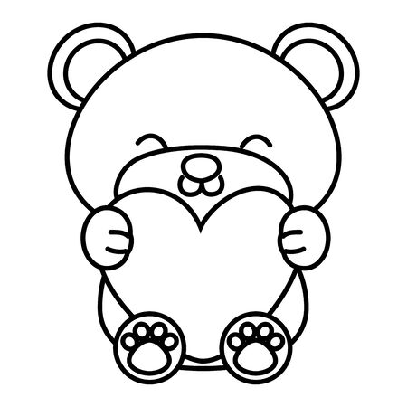 toy bear sitting and hugging a heart black and white vector illustration graphic design