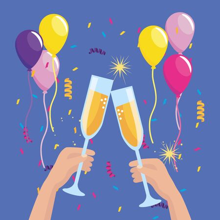 hands with champagne glass and balloons with confetti to party event vector illustration