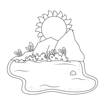 Desert with rocks and sun scenery summer and travel vector illustration editable design in black and white Illustration