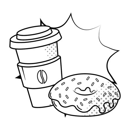coffee paper cup with heat protection and donut pop art black and white vector illustration graphic design