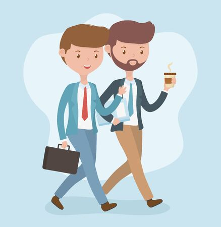 young businessmen walking avatars characters vector illustration design Vectores
