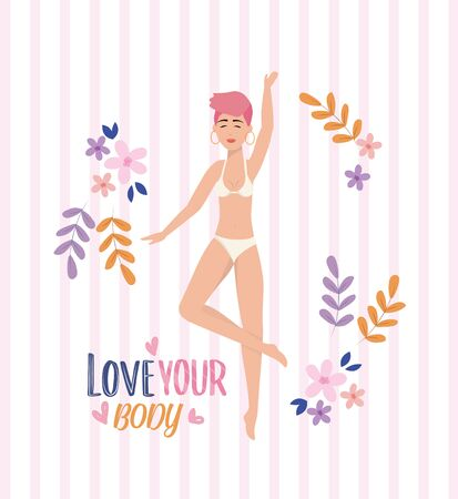 happy girl wearing underclothes with body posture and plants to love yourself vector illustration Illustration