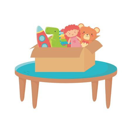 kids zone, table with box filled bear doll rocket dinosaur toys vector illustration