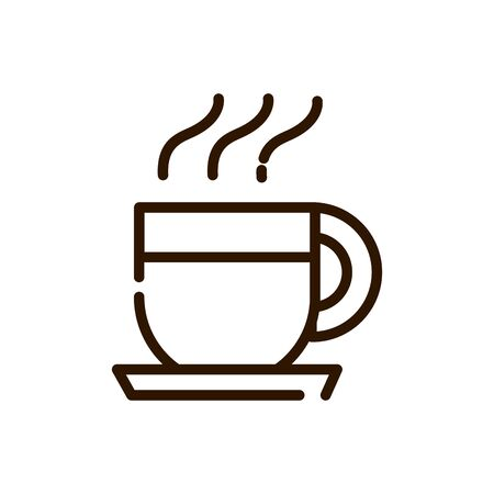 coffee cup with dish line design vector illustration