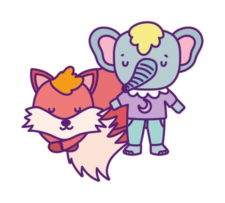 baby shower cute elephant with clothes and sleeping fox vector illustration