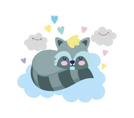 baby shower cute raccoon sleeping on clouds hearts cartoon vector illustration