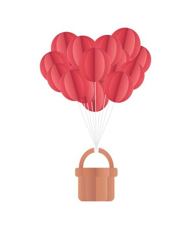happy valentines day air balloons basket origami paper vector illustration