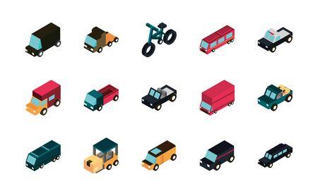transport car truck vehicles isometric icons set vector illustration