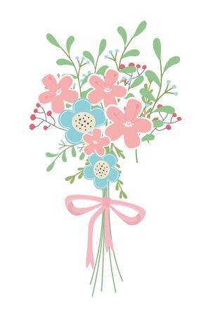 Bunch of flowers design, floral nature plant ornament garden decoration and botany theme Vector illustration