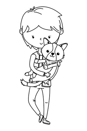 Boy with dog cartoon design Ilustrace