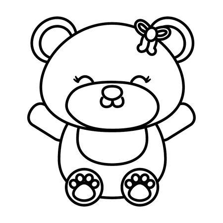 toy bear icon black and white Ilustração