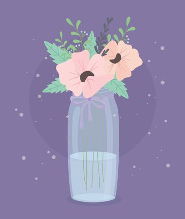 crystal bottle with flowers and leafs decoration vector illustration design