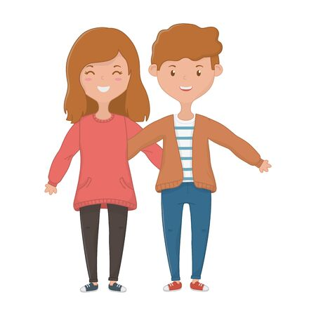 Girl and boy design, Firiendship together friends happy people and young theme Vector illustration