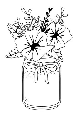 Flowers and leaves inside vase design, floral nature plant ornament garden decoration and botany theme Vector illustration