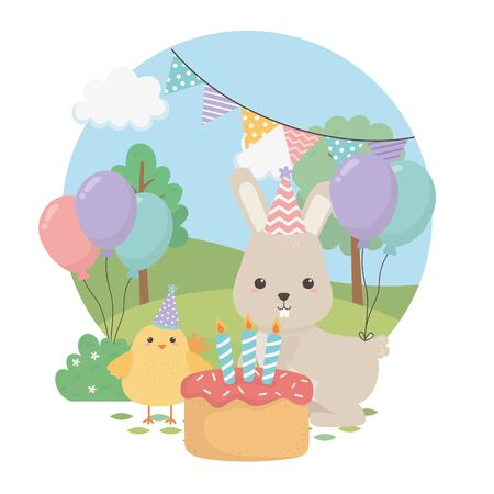 cute rabbit and chick in birthday party vector illustration design