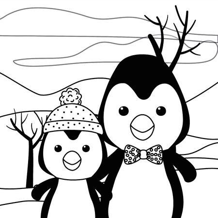 Couple of penguins design, Animal cute zoo life nature and fauna theme Vector illustration
