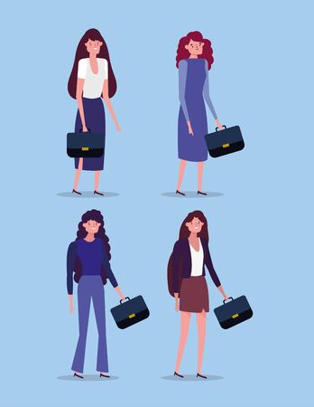 businesswomen group with briefcases characters business vector illustration