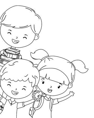 Boys and girl kids of school design