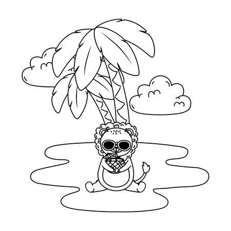 summer vacation lion relax cartoon vector illustration Vectores