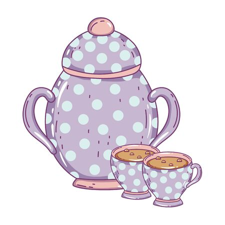 Porcelain coffee cup and sugar bowl vector design