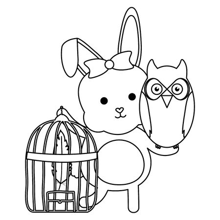 owl bird and rabbit with cage bohemian style vector illustration design