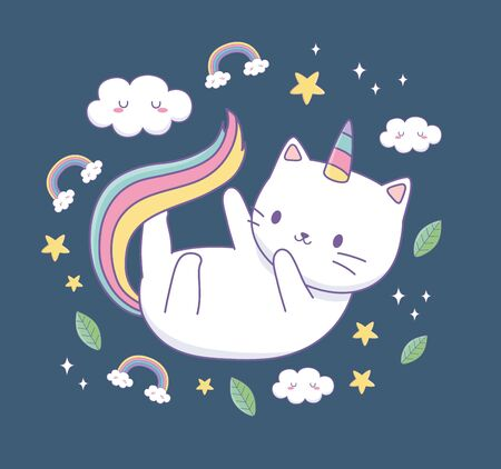cute cat with rainbow tail kawaii character vector illustration design
