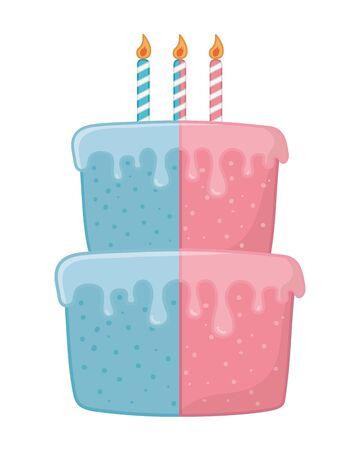 birthday cake with candles half pink, half blue vector illustration graphic design Ilustração