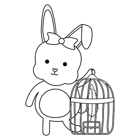 cute little rabbit with cage bird and feathers vector illustration design