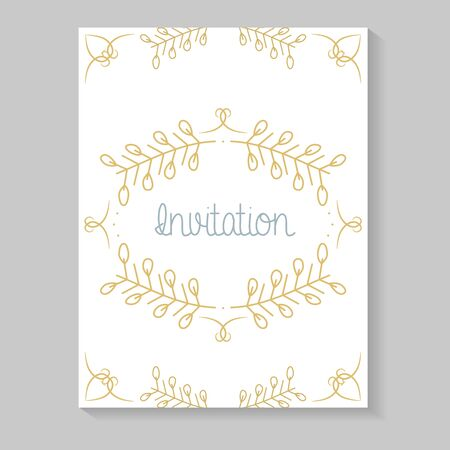 Einladungskarte mit Blättern goldene Kalligraphie Vektorgrafik
