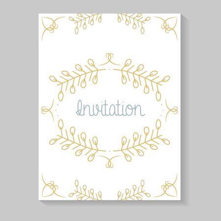 tarjeta de invitación con hojas de caligrafía dorada Ilustración de vector