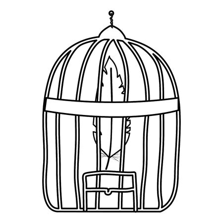 cage bird jail with feather Illustration