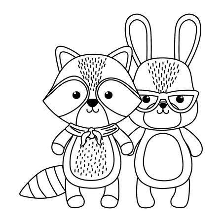 Cat and raccoon cartoon design vector illustration Illusztráció