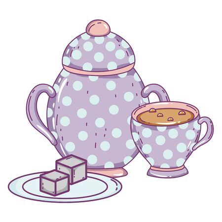 Porcelain coffee cup and sugar bowl design, Drink breakfast beverage bakery restaurant and shop theme Vector illustration Vettoriali