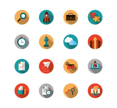 business strategy network icons set block shadow vector illustration Standard-Bild - 136383817