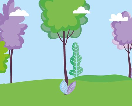 landscape meadow leaves nature trees sky vector illustration