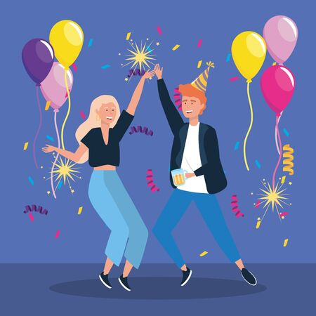 man and woman dancing with balloons and sparklers fireworks to party celebration, vector illustration