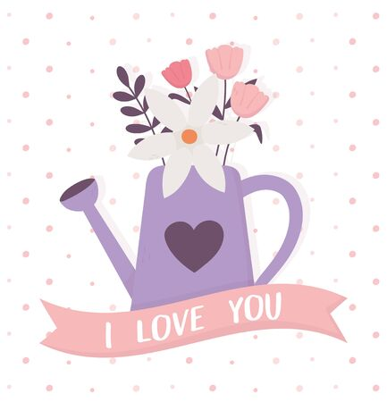 happy valentines day purple watering can with flowers i love you ribbon decoration vector illustration