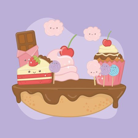 sweet pie of chocolate cream with kawaii characters vector illustration design