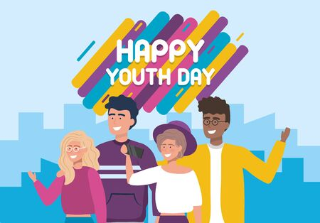 happy girls and boys with smartphone selfie to youth day vector illustration