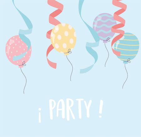 balloons ribbon falling celebration party decoration