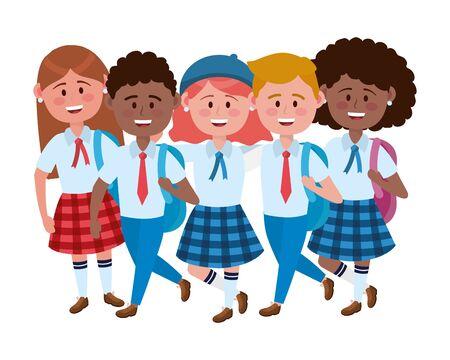 Boys and girls kids of school design
