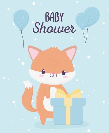 baby shower cute little fox with gift box and balloons card vector illustration