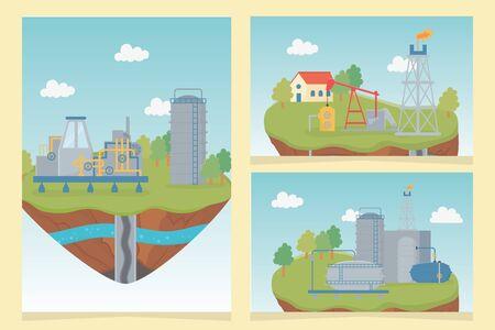 Industrie Petroleum Gas Process Exploration Fracking Vector Illustration