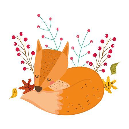 Fox cartoon design, Animal cute zoo life nature and fauna theme Vector illustration