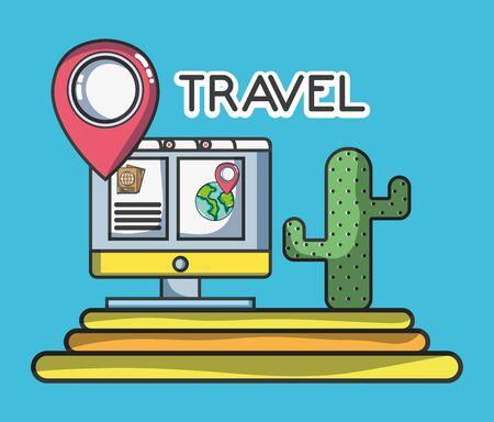 online map location cactus tourist vacation travel vector illustration